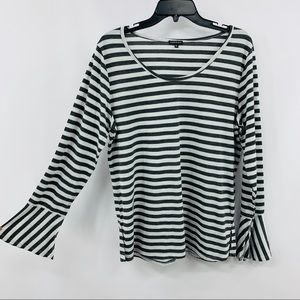 Hannah Gray & Silver Striped Long Sleeve Tee Shirt